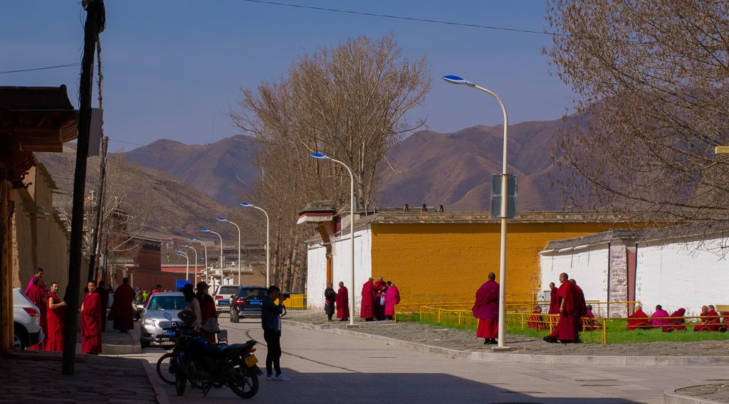 Monks sitting in the sun